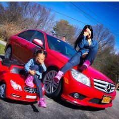 """Mommy and Me by our red cars. Mother Daughter Outfits, Mommy And Me Outfits, Future Daughter, Family Outfits, Mother Daughters, Cute Family, Baby Family, Family Goals, Mode Style"