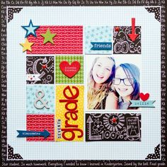 #papercrafting #scrapbook #layout  Kay Rogers Bella Blvd. Sketch - Seventh Grade Layout
