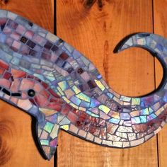 Whale stained glass mosaic handmade by Mosaic Art, Mosaic Glass, Stained Glass, Mosaic Ideas, Mosaic Designs, Whale Art, Fish Art, Whales, Symbols