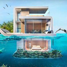 Koop je eigen Floating Seahorse in Dubai; een drijvende villa vol design en klasse! En met uitzicht op een azuur blauwe zee!