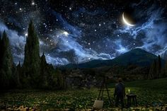 "reimagining the night of Van Gogh's ""The Starry Night"""
