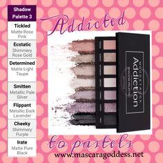 Addiction Palette 3!  Pinks & purples! Notice you get matte, shimmer & metallic colors all in 1 palette! www.mascaragoddess.net