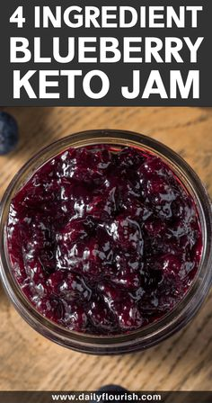 This healthy homemade low carb blueberry jam recipe is made with blueberries, chia seeds, lemon juice and natural sweetener. A gluten-free recipe. Low Carb Keto, Low Carb Recipes, Keto Chia Seed Recipes, Low Sugar Blueberry Jam Recipe, Blueberry Recipes Low Carb, Flax Seed Bread Recipe, Blackberry Jam No Pectin, Keto Blueberry Muffins, Flour Recipes