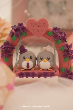 penguin with love flower tree and a swing wedding cake topper