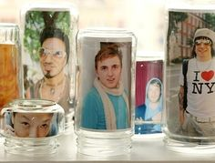 Use mason jars as Picture Frames