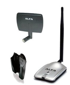 Alfa AWUS036H High power 1000mW 1W 802.11b/g High Gain USB Wireless Long-Rang WiFi network Adapter with 5dBi Rubber Antenna and a 7dBi Panel Antenna and Suction cup / Clip Window Mount - for Wardriving & Range Extension by Alfa. $34.99. The Alfa AWUS036H is the latest version of the most powerful card available. This has a stunning 1000mW output power. So if you are looking for a device to connect to an outdoor 2.4 GHz antenna, such as on a boat or an RV, this is a perfect sol...