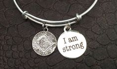 Narcotics Anonymous Inspirational Silver Ajustable Bangle I AM STRONG on a Silver Expandable Bracelet One Size Fits All