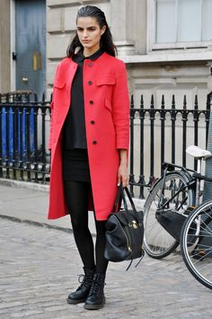 Street Style From London Fashion Week - love the black base, and bright topper
