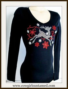 COWGIRL STYLE TOP Crystal Prancing Deer and Red Snowflake Long Sleeve Top #deer #top #reindeer #snowflake #black #red #silver #longsleeve #holiday #boutiqe #clothing #cowgirl #winterfashion #fashion #beautiful #onlineshopping