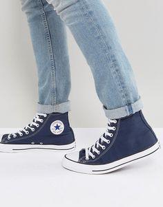 3a1acfeae371 Converse All Star Hi plimsolls in navy m9622c. Navy Converse OutfitConverse  All StarConverse HiBlue High TopsAll ...