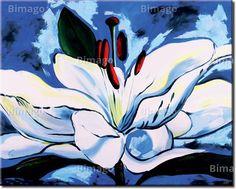 Giglio su sfondo blu quadro su tela // Lily in the blue - flower painting, modern canvas art