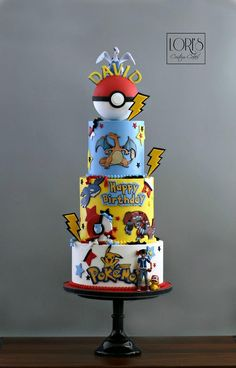 This was so much fun to do :) Pokemon Birthday Cake, Pokemon Party, Pokemon Cakes, Boy Birthday, Happy Birthday, Birthday Parties, Buttercream Cake, Custom Cakes, Themed Cakes