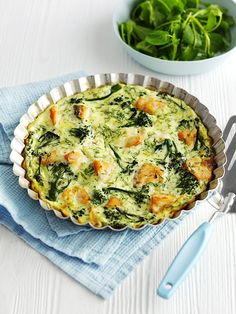 Hot-smoked salmon and broccoli crustless quiche: This crustless hot-smoked salmon and broccoli quiche is ready in under an hour and under 300 calories - perfect for the 5:2 diet