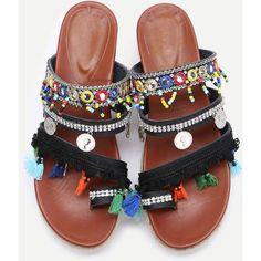 SheIn(sheinside) Black Open Toe Coin Fringe Trim Flatform Sandals ($36) ❤ liked on Polyvore featuring shoes, sandals, black, flatform sandals, black shoes, flatform espadrille sandals, boho sandals and strappy sandals