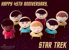 45 years ago today, Star Trek was telecast on NBC for the very first time. And to celebrate the milestone, Bakingdom's resident baker-geek, Darla, has put together a step-by-step guide to baking your very own Star Trek: TOS character cookies. Cut Out Cookies, Cute Cookies, Sugar Cookies, Sweet Cookies, Star Trek Party, Anniversary Cookies, Cookie Tutorials, Perfect Cookie, Cookie Designs