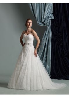 Organza and Lace Strapless Sweetheart Neckline Gathered Bodice and Beaded Waistband with Flower Accent Ball Gown Draped Lace Skirt with Chapel Train Hot Sell Wedding Dress WD-0964