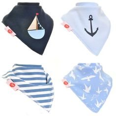 Zippy Fun Baby and Toddler Bandana Bib - Absorbent 100% Cotton Front Drool Bibs with Adjustable Snaps (4 Pack Gift Set) Boys Nautical Blues