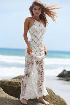 Crochet Blouse White crochet beach maxi dress - White crochet maxi dress Crochet maxi dress made from cotton in a smoke-free and pet-free environment. The dress will be shipped within 20 days period after clear payment. Crochet Beach Dress, Crochet Wedding Dresses, Crochet Bodycon Dresses, Knit Dress, Wedding Gowns, Crochet Blouse, Crochet Tops, Tulle Wedding, Red Wedding