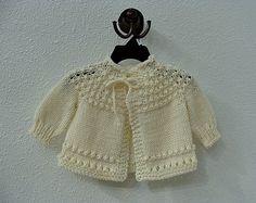 Hand Knitted Baby Sweater Cream by BibbiLousBounty on Etsy