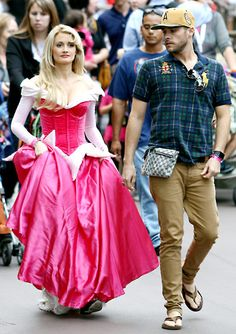 Pregnant, Holly Madison completely concealed her baby bump dressed up as Princess Aurora (Sleeping Beauty) at a Mickey's Halloween Party taping at Disneyland in Anaheim, Calif. Oct. 9.
