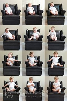 Monthly photos of baby, from newborn to one year, by Rachael Spiegel Photography.