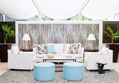 Allison Elebash interiors - love the use of the pebble tile to create a permanent rug on this patio.
