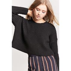 Forever21 Ribbed Knit Cropped Sweater ($18) ❤ liked on Polyvore featuring tops, sweaters, black, drop shoulder sweater, forever 21 tops, long sleeve sweater, long sleeve crop sweater and round neck crop top