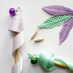 Fake Feather  Purple & White Polka Dot Feather Decor  by kaetoo