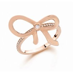 Ivanka Trump Bow Collection 18K Rose Gold Diamond Bow Ring with Half Pave Shank