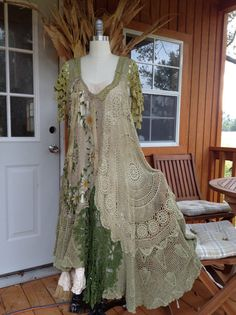 """Luv Lucy Art To Wear Crochet Dress  """"Green with envy"""" gypsy dress with boho bag"""