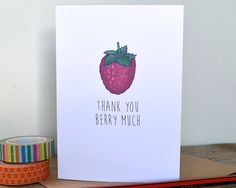 Thank You Berry Much Card Fruit Pun Illustration by BeckaGriffin