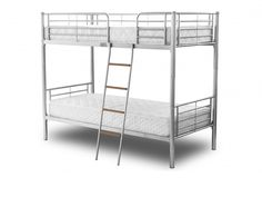 The Melvin Bunk Bed is a Children's metal 3ft bunk bed. Solid and secure and safe for children. Only comes in Silver with wooden steps. Mattresses are not included in the price, these must be ordered separately.
