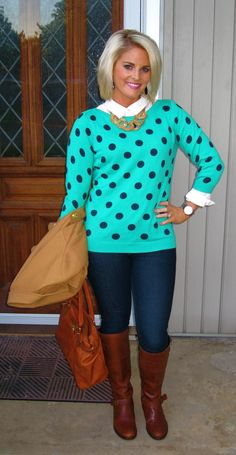 A True Fall Outfit: Layers, Polka Dots, and Riding Boots