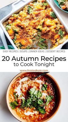 These easy recipes will have you excited for Fall! A collection of easy dinner recipes, healthy soup recipes, hearty salad recipes, and easy desserts! You'll want to add these autumn recipes to your recipe collection to make all season long! #recipes #recipesfordinner #easymeals #dessertrecipeseasy #fallrecipesdinner #saladideas #autumnrecipes #autumnrecipesdinner #autumnrecipesdessert #pumpkinrecipes