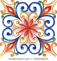 Illustrazione stock 1352508563 a tema Watercolor Majolica Ornament Floral Embroidery Patterns, Embroidery Designs, Tile Patterns, Pattern Art, Patchwork Tiles, Leather Wallet Pattern, Beautiful Flowers Wallpapers, Kolam Designs, Hand Art