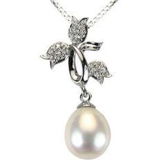 Tri-Tulip Cultured Pearl Drop Cubic Zirconia Rhodium Plated Sterling Silver Pendant Necklace