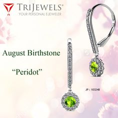 Celebrate special occasions of this month with #Peridot. #August #Birthstone  #Dangleearring #Dropearring #Halodangling #Weddingjewelry #love #earings #gorgeous #jewelryforwomen #Diamond #FineJewelery #trijewels