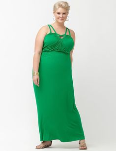 6be61ce006ed NEW LANE BRYANT WOMENS PLUS SIZE CUT OUT KNIT GREEN MAXI DRESS sz 22 / 24