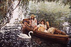 On River Avon by Sandra Kuck 2 Litle Girls In Row Boat in Art, Art from Dealers & Resellers, Prints | eBay