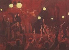 Paul Adminsters The Oath Of The Fedaykin from The Illustrated Dune (1978), illustration by John Schoenherr