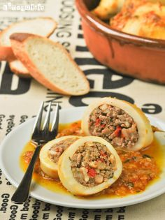 Squid stuffed with prawns and meat Calamari Recipes, Seafood Recipes, Mexican Food Recipes, Ethnic Recipes, Madrid Food, Good Foods To Eat, Food Platters, Cook At Home, Spanish Food