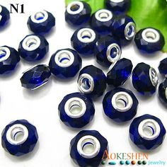 9x14mm Faceted Crystal Glass Beads Fit European Charms Bracelet Dark Blue