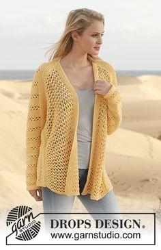Free knitting patterns and crochet patterns by DROPS Design Crochet Cardigan Pattern, Sweater Knitting Patterns, Knitting Designs, Knit Patterns, Clothing Patterns, Drops Design, Pull Crochet, Knit Crochet, Summer Knitting