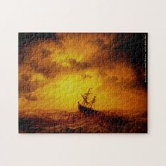 Stormy Sea Vintage Painting Family Kids Art Nature Jigsaw Puzzle #jigsaw #puzzle #jigsawpuzzle Custom Jigsaw Puzzles, Stormy Sea, Make Your Own Puzzle, Custom Gifts, Sports Gifts, Art Nature, Family Kids, Lovers Art, Vintage Art
