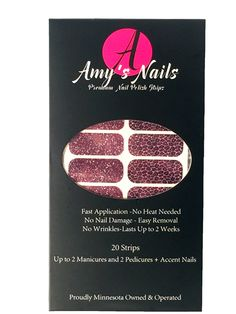 Rockin' Cheetah Nail Polish Strips Made with real nail polish! 1. Clean nails, 2. Smooth on strip 3. File ends 4. Topcoat and GO! Easy, no mess, great styles and removes with just nail polish remover! www.amysnails.net