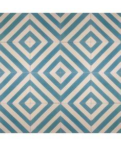 Linea Blue Encaustic Cement Tile