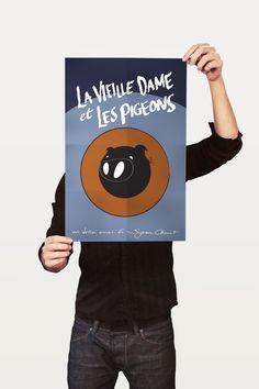 La Vieille Dame et Les Pigeons Poster by Yunus Kurtuluş, via Behance