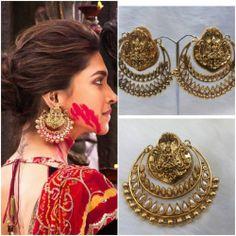 Online Shopping for Ram Leela Shag Ear Ring. Jewelry Design Earrings, Gold Earrings Designs, Unique Earrings, Designer Earrings, Jewellery, Beautiful Earrings, Fashion Earrings, Fashion Jewelry, Indian Wedding Jewelry
