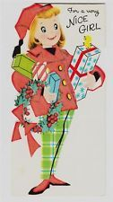 Vintage Girl in Red Flocked Coat with Plaid Pants Christmas Greeting Card