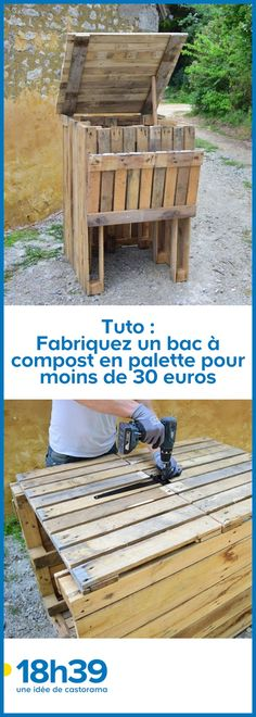 Thanks to this compost bin wooden pallet recycle, you can recycle your green waste! For less than 30 euros, make yours in a few steps. Diy Outdoor Table, Diy Patio, Diy Table, Table Palette, Palette Diy, Diy Pallet Projects, Wood Projects, Pallet Ideas, Recycled Pallets
